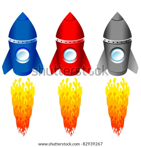 set of color rockets on white - stock vector