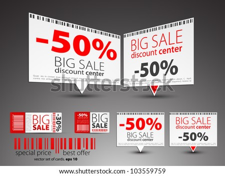 Set of color sale pointers - stock vector