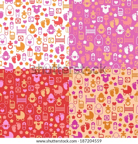 Set of color seamless patterns of baby icons - stock vector