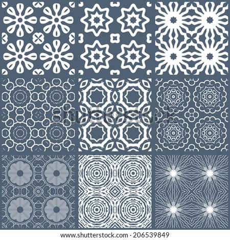 set of color seamless tileable background patterns - stock vector