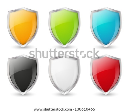 Set of color shield icons - stock vector