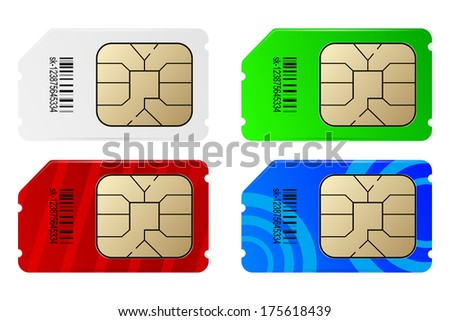 Set of color SIM cards - stock vector