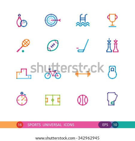 set of color sports universal icons - stock vector