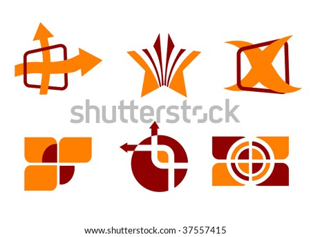 Set of color symbols isolated on white - abstract emblem. Jpeg version also available - stock vector