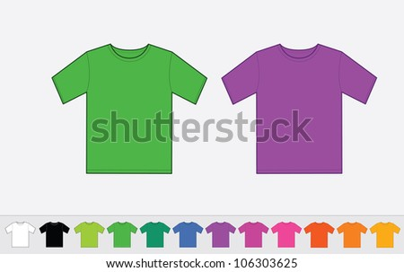 Set of color t-shirts - stock vector