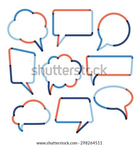 Set of color transparent speech bubbles. Vector illustration - stock vector