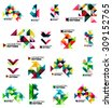 Set of color triangles geometric pattern elements isolated on white. Web, app background or business identity, presentation and wallpaper - stock vector