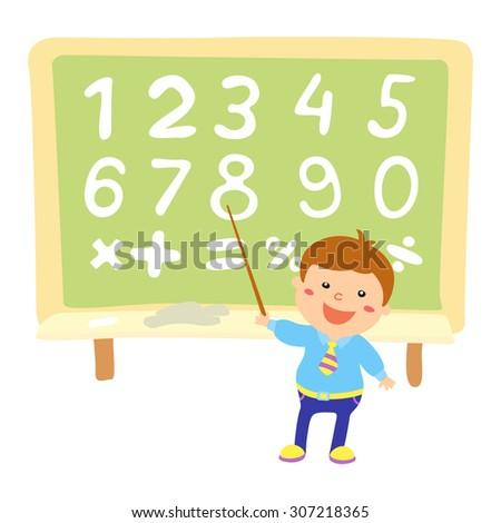Set of color vector numbers. kids illustration children, fun, flat - stock vector