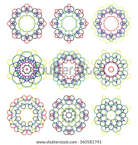 Set of color vector round elements. Mandalas collection. Round Ornament Pattern. . Hand drawn background, oriental motifs.