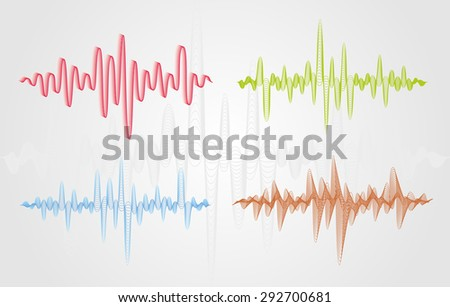 Set of color vector sound waves. Audio equalizer technology, pulse musical. Can be used in club, radio, pub, party, concerts, recitals or the audio technology advertising background. - stock vector
