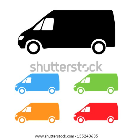 Set of color vector van silhouettes - stock vector