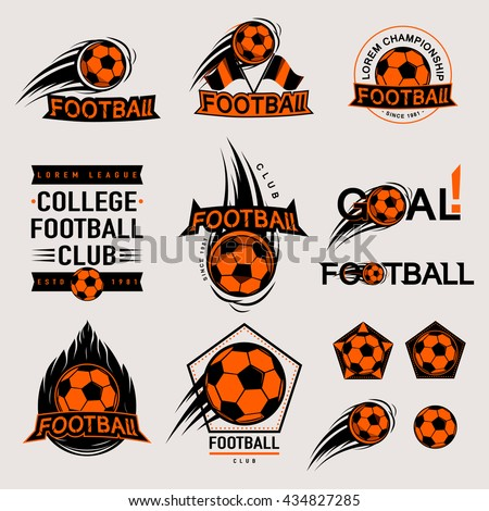 Set of color vintage, modern and retro logo badges and labels football game, club, sign Goal, soccer ball. Sport typography text, icons and old emblems. Vector illustration easy changed - stock vector