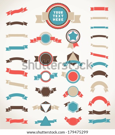 Set of color vintage round, triangle and hexagon badges and ribbons. Design elements isolated on white background. Vector illustration. There is place for your text. Editable EPS8 vector. - stock vector