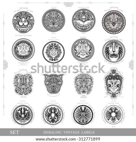 set of color vintage royal labels with lion eagle and man face - stock vector