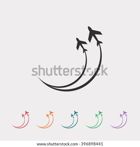 Set of color web icons: black Airplane icon - stock vector