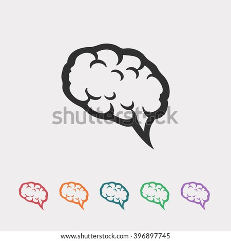 Set of color web icons: black brain icon  - stock vector