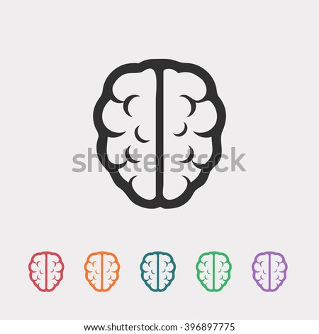 Set of color web icons: black brain icon, red brain icon, orange brain icon, blue brain icon, green brain icon, purple brain icon - stock vector