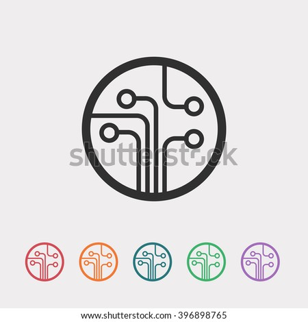 Set of color web icons: black Circuit board icon, red Circuit board icon, orange Circuit board icon, blue Circuit board icon, green Circuit board icon, purple Circuit board icon - stock vector