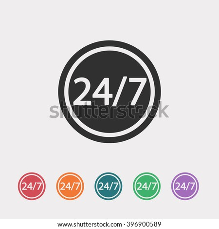 Set of color web icons: black 24 hour 7 day icon, red 24 hour 7 day icon, orange 24 hour 7 day icon, blue 24 hour 7 day icon, green 24 hour 7 day icon, purple 24 hour 7 day icon - stock vector