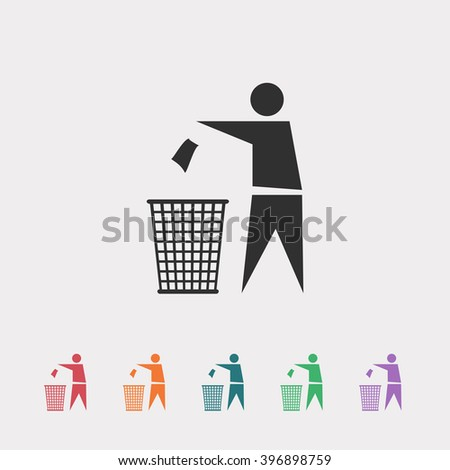 Set of color web icons: black Recycling icon, red Recycling icon, orange Recycling icon, blue Recycling icon, green Recycling icon, purple Recycling icon - stock vector