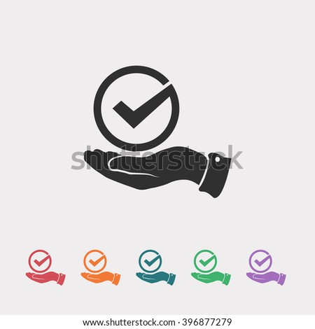 Set of color web icons: black Tick icon, red Tick icon, orange Tick icon, blue Tick icon, green Tick icon, purple Tick icon - stock vector