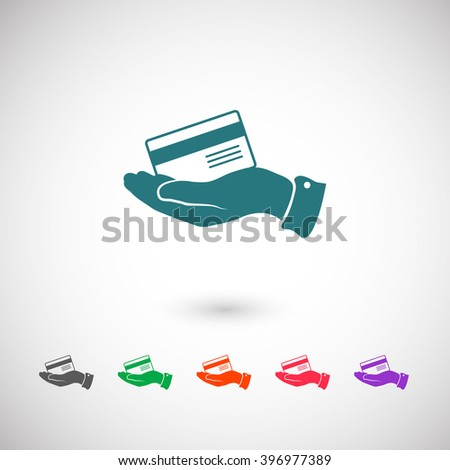 Set of color web icons: blue Bank credit card icon, black Bank credit card icon, green Bank credit card icon, orange Bank credit card icon, red Bank credit card icon, purple Bank credit card icon - stock vector
