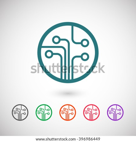 Set of color web icons: blue Circuit board icon, black Circuit board icon, green Circuit board icon, orange Circuit board icon, red Circuit board icon, purple Circuit board icon - stock vector