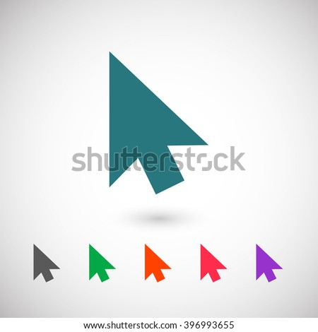 Set of color web icons: blue cursors icon - stock vector