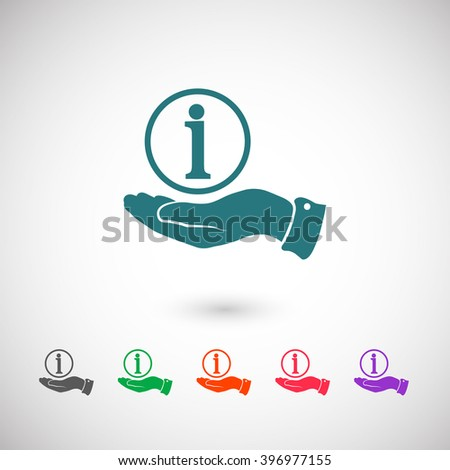 Set of color web icons: blue Information icon, black Information icon, green Information icon, orange Information icon, red Information icon, purple Information icon - stock vector