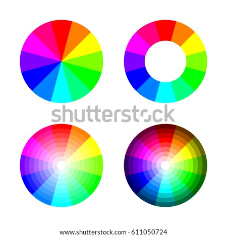 Set Of Color Wheel 12 Rgb On White Background Vector