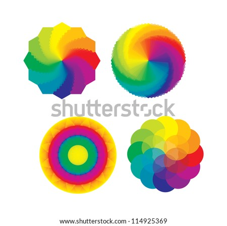 Set of Color Wheels - Circles / Flower of Life in Rainbow Colors - stock vector