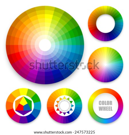 Set of color wheels. Color harmony. Color theory. Multicolored spectral circles. - stock vector