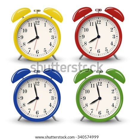 Set of color, yellow, blue, green, red retro alarm clocks isolated on white background - stock vector