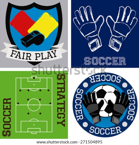 Set of colored backgrounds and labels with soccer elements. Vector illustration - stock vector