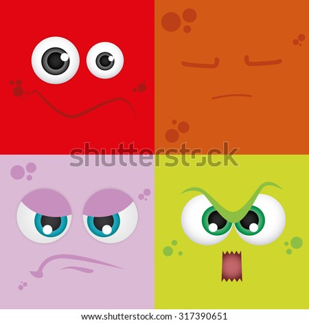 Set of colored backgrounds with different facial expressions