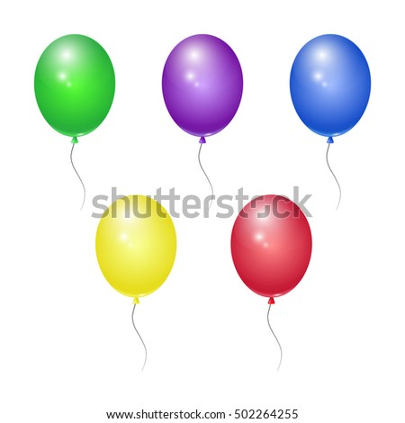 Set of colored balloons. Vector isolated illustration, design icon