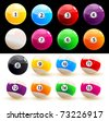 Set of colored balls billiard - stock photo