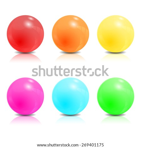 Set of colored balls. Rainbow colors sphere for your design. Vector illustration - stock vector