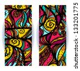 Set of colored banners stylized on a stained glass window on white background-vector - stock photo