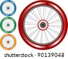 set of colored bike wheel with tire and spokes isolated on white background. vector - stock vector