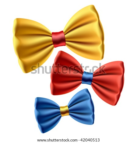 Set of colored bow ties. Vector. - stock vector