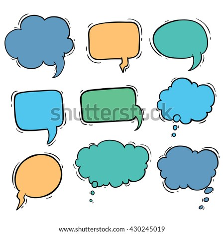 Set of colored bubbles speech with using hand drawing style
