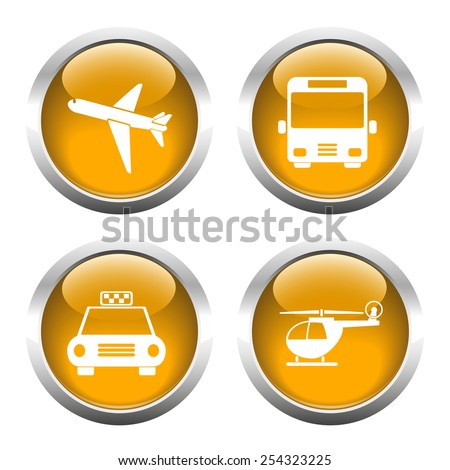 Set of colored buttons for web, airplane, helicopter, taxi, bus. Vector.