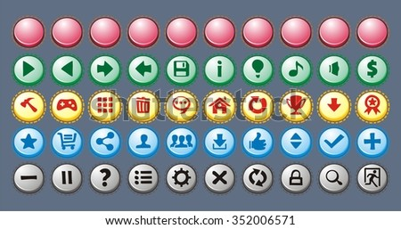 Set of colored buttons for web, application and game