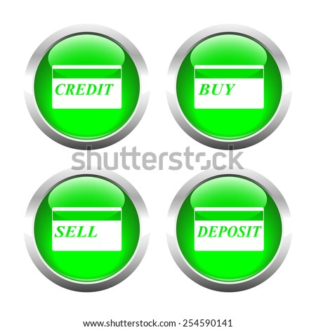 Set of colored buttons for web, plastic cards. Vector.
