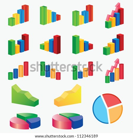 Set of colored charts on the white background. - stock vector