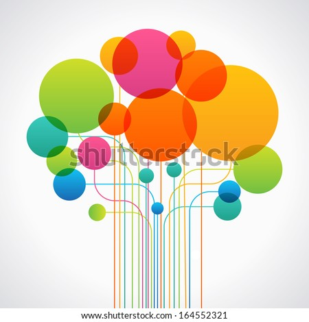 Set of colored circles and lines form the shape of an abstract tree. Concept network. The file is saved in the version AI10 EPS. This image contains transparency. - stock vector