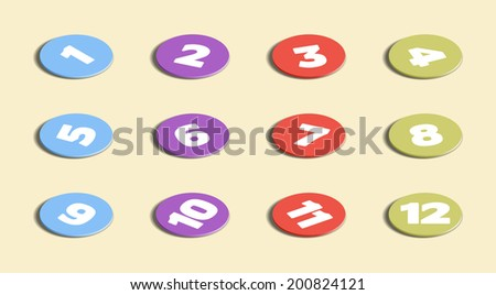 Set of colored circles with numbers up to twelve, vector illustration