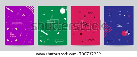 Set of colored covers with minimal design and geometric forms. Abstract geometric vector objects. Modern Decoration shapes and figures for web, print, patterns,branding