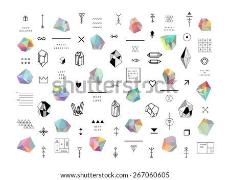 Set of colored crystals in polygon style with geometric shapes.Trendy hipster retro backgrounds and logotypes - stock vector